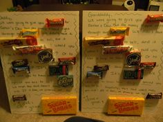 """Candy cards for Daddy & Granddaddy.  """"We were going to give you 100 GRAND for Father's Day, but the money slipped right through our BUTTERFINGER.  We didn't have a WHATCHAMACALLIT to sell, and it wasn't PAYDAY.  Would you like a trip to new YORK?  or to the MILKY WAY?  How about just MOUNDS of ALMOND JOY?  It's UP2U!  We want you to know how EXTRA special you are to us!  We hope this card doesn't make you sick.  If it does, we promise not to SNICKER!  Love, your SUGAR BABIES""""  Happy Father's Day"""