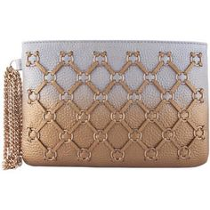 Shaded Ring Weave Wristlet Clutch Bag