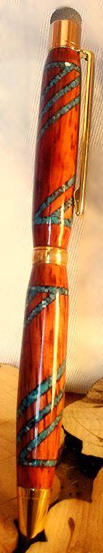 Padauk Holz inlayed zerkleinert türkis Streifen.Stylus fiber tip  Padauk wood from Camaroon inlayed crushed turquoise stripes