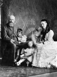 """King Charles I and Grand Duchess Olga Nikolaevna Romanova of Russia,Queen of Württemberg with twin daughters of their adopted daughter Grand Duchess Vera Konstantinovna Romanova of Russia, Princesses Olga and Elsa. """"AL"""""""