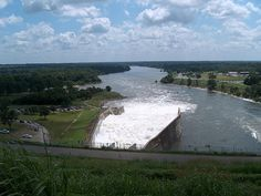 The Red River at Denison Dam in Denison, Texas.