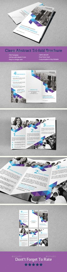 Clean Abstract Tri-fold Brochure Template PSD #design Download: http://graphicriver.net/item/clean-abstract-trifold-brochure-/14342978?ref=ksioks