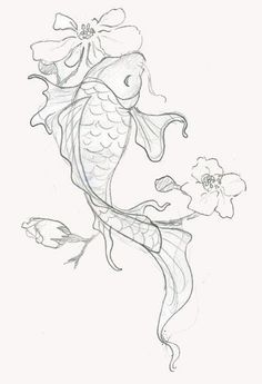 110 Best Japanese Koi Fish Tattoo Designs and Drawings Japanese Dragon Koi Fish Tattoo Designs, Drawings and Outlines. The inspirational best red and blue koi tattoos for on your sleeve, arm or thigh. Realistic Flower Drawing, Cute Flower Drawing, Easy Flower Drawings, Easy Disney Drawings, Easy Doodles Drawings, Flower Design Drawing, Japanese Koi Fish Tattoo, Koi Fish Drawing, Fish Drawings