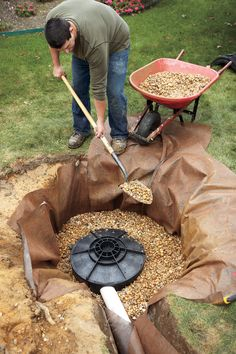 How to Install a Dry Well Diverting roof runoff properly makes for a less slippery yard and walkway Backyard Drainage, Gutter Drainage, Landscape Drainage, Backyard Projects, Outdoor Projects, Drainage Solutions, Drainage Ideas, Dry Well, Rain Garden
