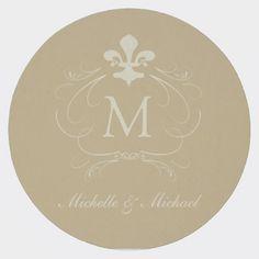 Gold Fleur de Lis Fancy Scroll Round Paper Coaster: Personalize it! #gold #fleurdelis #neworleanswedding #neworleans