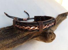 Men's Leather and Copper Bracelet, Men's Leather Bracelet, Men's Copper…