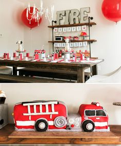 Love this vintage, industrial fire truck party!  That table setting is to die for and the 'walkie talkie' radio drinks are genius!