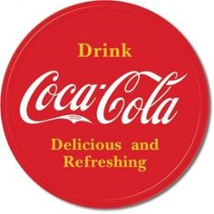 "Accent décor with the nostalgia feel of this retro Coca-Cola Button Style Tin Sign. Coca-Cola While We Check Your Tires"". Vintage Coca Cola, Logo Vintage, Vintage Metal Signs, Retro Vintage, Vintage Style, Concert Signs, Coca Cola Poster, Coca Cola Decor, Pompe A Essence"