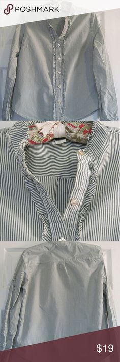 "J. Crew Button Down Shirt - Green White Stripe Womens J. Crew long sleeve shirt in excellent condition. Button down style with ruffle trim along the front placket and collar. Green stripes on white background. 100% cotton. Measures approx. 19"" flat pit to pit and 23"" from the back middle to the hem. mark in the fabric on the back right. J. Crew Tops Button Down Shirts"