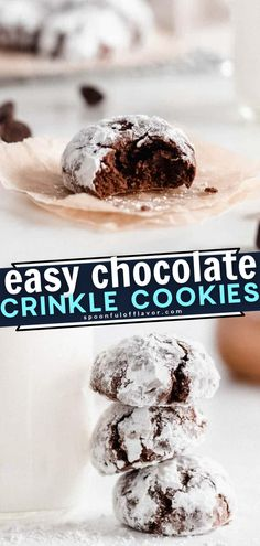 Say hello to your new favorite Christmas dessert! You only need a few simple ingredients and 20 minutes of prep to create 36 delectable little Chocolate Crinkle Cookies. Bake a batch of this easy recipe for gifting and sharing during the holiday season! Save this pin! Easy Chocolate Desserts, Chocolate Cookie Recipes, Best Cookie Recipes, Chocolate Crinkle Cookies, Chocolate Crinkles, Apple Crumble Cake, Delicious Desserts, Dessert Recipes, Christmas Desserts