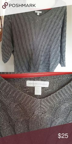 Silver shimmer sweater Wore once thought it was my style bought brand new from NY & Co. Very comfortable. NY Collection Sweaters V-Necks