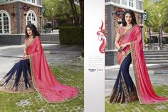 This pink and navy blue is as regal can be. It is one amazing combination that is not very much experimented. Carved out of georgette-jacquard and silk, the saree is one to desire for. The saree is adorned with Resham embroidery and zari over its length. It is summed up with amazing embroidered pink pallu and gold border. Teaming it up with maroon art-silk blouse with cutouts would look graceful.:only@3050