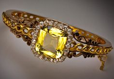 antique bangle bracelet, Moscow 1882-1898 Heliodor, Diamond and Two Color Gold