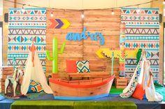 Tribal backdrop from a Boho Tribal 1st Birthday Party on Kara's Party Ideas | KarasPartyIdeas.com (28)