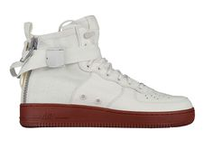 premium selection c02e4 b1939 Here is a look at an upcoming Nike SF Mid release that contrasts a brick  red sole with a white upper that is accented with grey on the zipper.