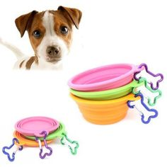 """""""Fold-N-Go"""" Silicone Collapsible Pet Food/Water Dish Dog Travel Bowl with Bone Clip -- You could find more details by visiting the image link. (This is an affiliate link and I receive a commission for the sales)"""