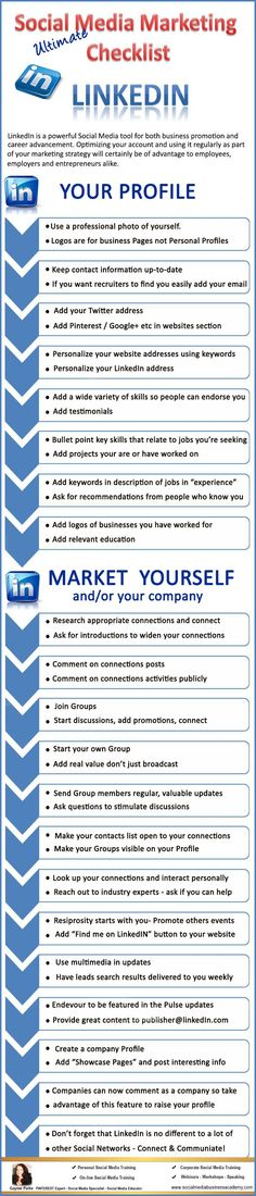 Your ultimate LinkedIn checklist. For more Social Media tips and resources visit http://www.socialmediabusinessacademy.com LinkedIn Infographic