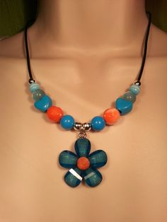 Daisy Aqua and Orange Necklace on Leather Cord by SpringHammock