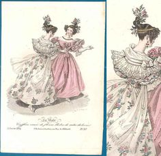 Romantic era fashion print 1834 La Mode pretty gowns hairstyles regency victorian