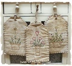 Spring Pots Tag Collection-Primitive Stitchery-E-PATTERN by Primitive Stitches-Instant Download