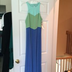 3-Tone Dress w/ Keyhole Back Mint green, spring green and cornflower blue dress, floor length, 2 button closure in back with circle cut out London Times Dresses
