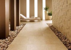 love combining different flooring choices to create more visual interest ... and avoid grout against the walls