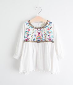 Cheap girls blouse, Buy Quality girls fashion blouse directly from China blouse girl Suppliers: Retail 2016 Baby Spring Girl Blouses Solid Embroidery Floral Full Sleeve Girl Top Girl Clothes Lolita Fashion Girl Outfits, Cute Outfits, Fashion Outfits, Lolita Fashion, Boho Fashion, Girls Blouse, Trendy Clothes For Women, Embroidery Dress, Simple Outfits