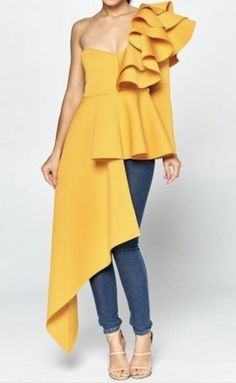 One shoulder ruffle top. African Girl, African Fashion, One Shoulder Ruffle Top, Female Fashion, Womens Fashion, Fashion Silhouette, Blouse Dress, Plus Size Blouses, Cute Dresses