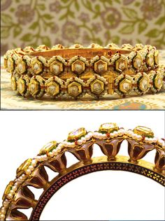 Red Tulip Patcheli: These period pair of bangles are called Patcheli in Bikaner. Adorned with ornate desi (local) Meenakari designs of large flowers. Studded with stunning table-cut polki diamonds and basra pearls and made with 23K gold. Handmade in Bikaner. SKU: 0004. Vintage. www.sannu.in