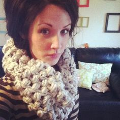 Puffy stitch crochet cowl pattern with link  to Youtube video tutorial on how to do puffy stitch which is super easy..