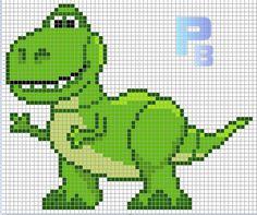 T-Rex Toy Story perler pattern - Patrones Beads / Plantillas para Hama by paige Perler Bead Disney, Perler Bead Art, Perler Beads, Hama Beads Patterns, Beading Patterns, Embroidery Patterns, Cross Stitching, Cross Stitch Embroidery, Cross Stitch Patterns