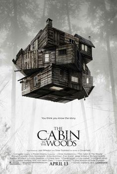 The Cabin in the Woods movie poster with Richard Jenkins, Bradley Whitford, and Chris Hemsworth.