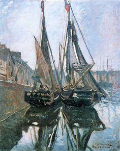 Claude Monet 1868 Fishing Boats at Honfleur oil on canvas - http://poulwebb.blogspot.com