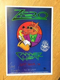 Original AUTOGRAPHED concert poster for  Zero / Canned Heat at Maritime Hall in…