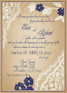 i like the wording and the art, clors and fonts could be changed Wedding Invitation Samples, Lace Wedding Invitations, Vintage Wedding Invitations, Wedding Stationary, Wedding Cards, Invitation Ideas, Plan My Wedding, Our Wedding Day, Wedding Dreams