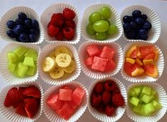 Colour coded fruit cups - done in red, blue, orange and green for a Peppa Pig party?