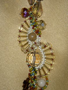 One of a kind free-form Peyote stitched bracelet (in earth tones) 7 inches