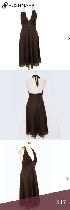 J. CREW Halter Dress Almost new! Dark Brown Textured Halter Dress, falls  at knees with a classic style and amazing fit!!! 100% cotton. J. Crew Dresses