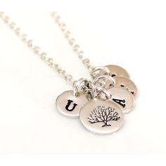 Tree of Life Initial Sterling Silver, Family Tree Necklace,... ($26) ❤ liked on Polyvore featuring jewelry and necklaces