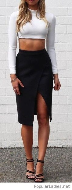 white-crop-blouse-black-midi-skirt-and-high-heels