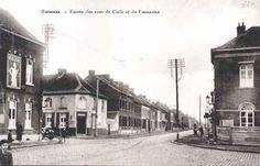 Pub Belga sur la première maison a gauche. Cuesmes : entrée des rues de Ciply et de Frameries