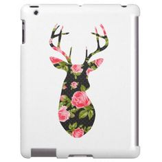 Deer Silhouette with Romantic Floral Vintage Roses iPad Case