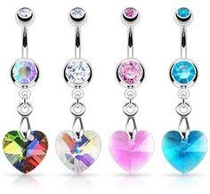 Swarovski Crystal Heart Dangle Belly Ring