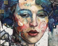 """Original mixed media portrait with fabric and gold 12""""x16"""" modern portrait collage with oil, fabric, tissue paper""""Sadie"""""""