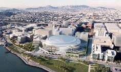 Rendering released on Dec. 10, 2014, shows the east aerial view of the Golden State Warriors' proposed new arena in San Francisco's Mission Bay area.