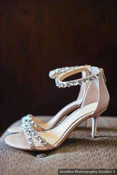 Wedding shoes ideas - heels, silver, glam, elegant, silver, rhinestones {Zenobia Photography Studios}