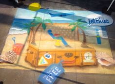 Jet Blue, Paseo chalk fest, Jen Swain Chalk Drawings, One Bag, Jet, Gift Wrapping, Gifts, Blue, Gift Wrapping Paper, Presents, Wrapping Gifts