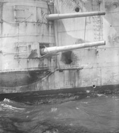 Shell hole in HMS Kent after the Battle of the Falkland Islands.