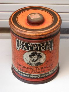 Large Vintage SIR WALTER RALEIGH Tobacco TIN Round Can Pipe Cigarettes B&W USA