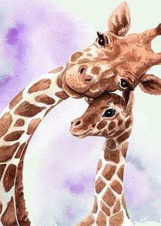 Cute giraffe mom and baby poster by from collection. By buying 1 Displate, you plant 1 tree. Giraffe Drawing, Baby Animal Drawings, Giraffe Painting, Cute Drawings, Giraffe Decor, Giraffe Art, Cute Giraffe, Giraffe Colors, Baby Giraffes